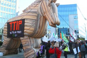 TTIP protesters in Brussels, February 2015.